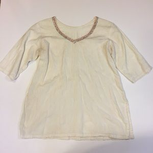 Tops - Woman's Cream Embroidered Blouse with Beaded Neck